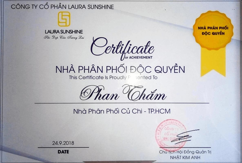Giấy chứng nhận Nhà phân phối độc quyền mỹ phẩm Laura Sunshine Nhật Kim Anh